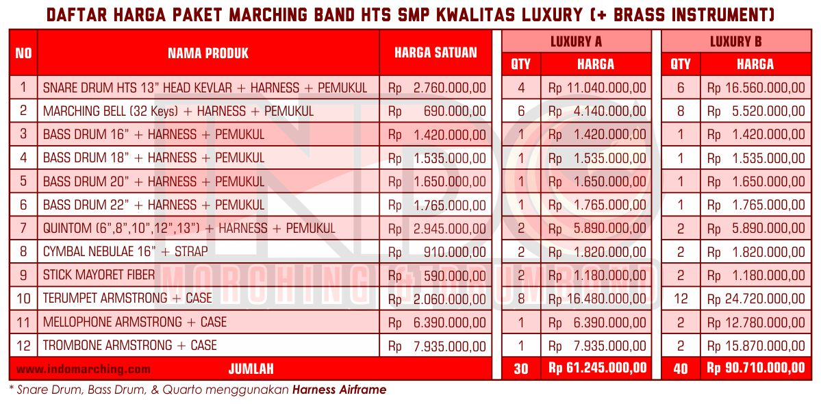 Harga Marching Band SMP - Luxury B