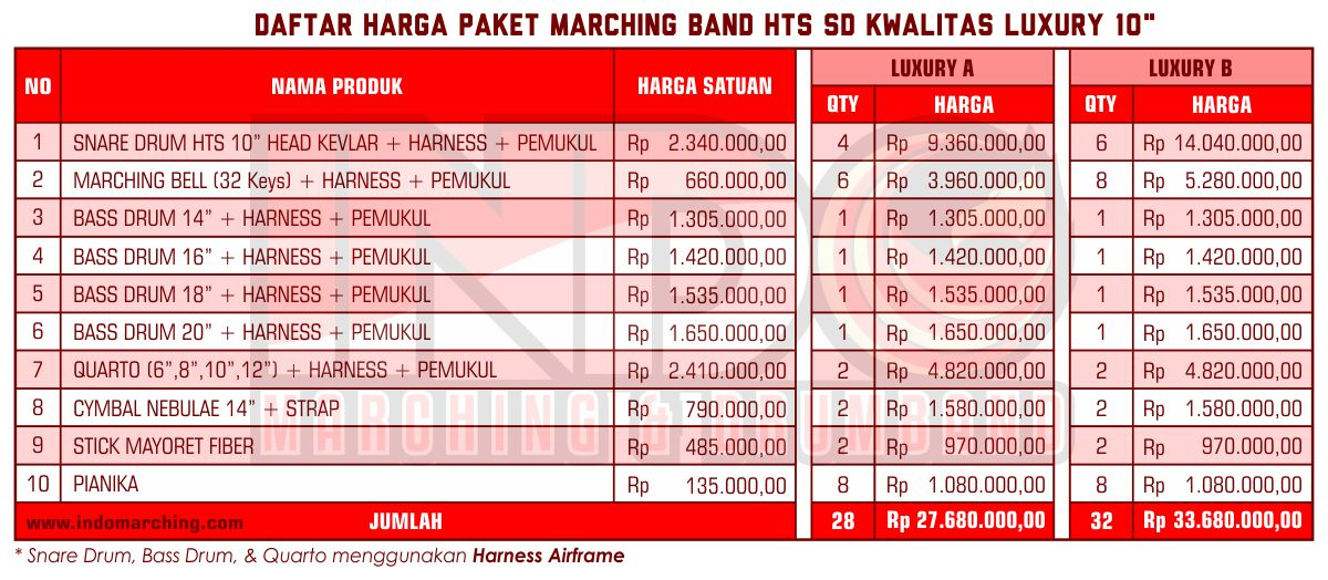 Harga Marching Band SD - Luxury A