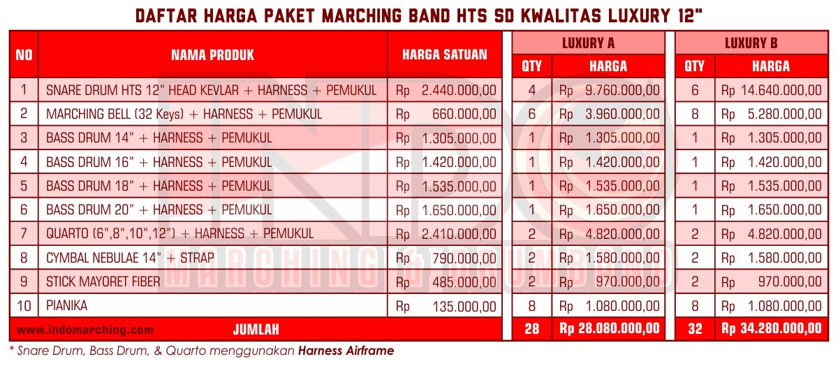 Harga Marching Band SD - Luxury B