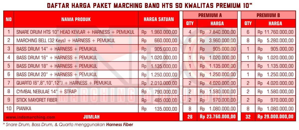 Harga Marching Band SD - Premium A
