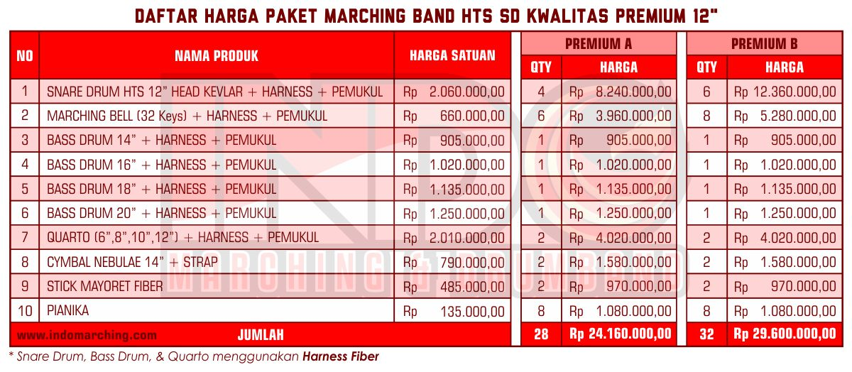Harga Marching Band SD - Premium B