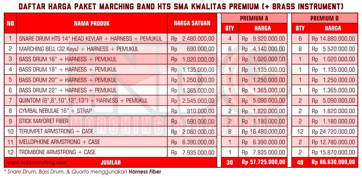 Harga Marching Band SMA - Premium B